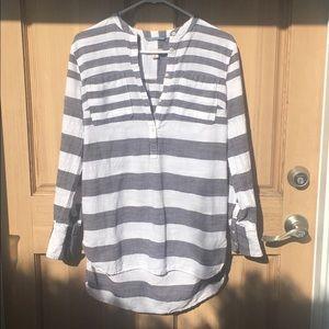 Merona medium gray & white cotton shirt/top